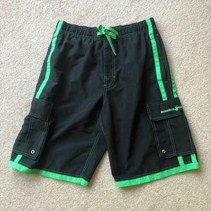 Beverley Hills Polo Club Black/Green Swim Trunks